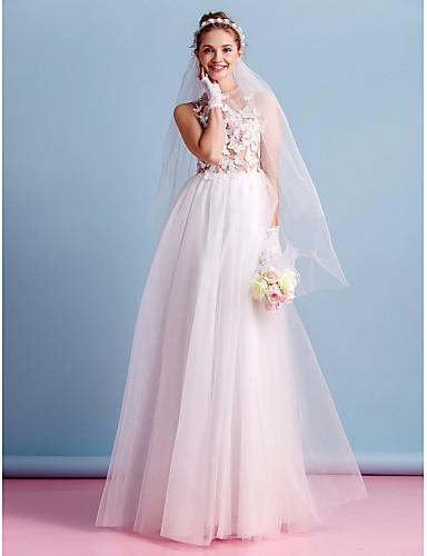 A-vonalú Ékszer Földig érő Tüll Esküvői ruha val vel Virág által LAN TING BRIDE®
