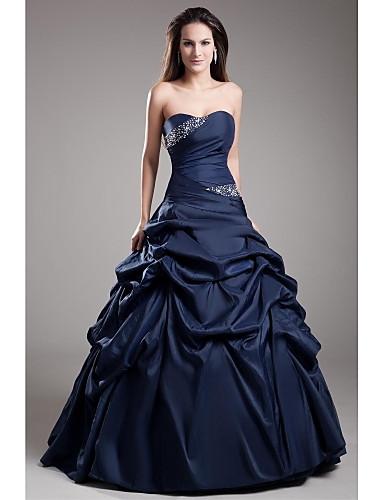 abordables robe grande taille-Robe de Soirée Coeur Longueur Sol Taffetas Soirée Formel Robe avec Détail Cristal / Jupe par TS Couture®