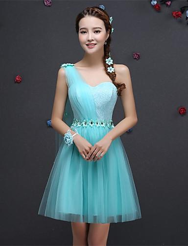 קצר / מיני תחרה שמלת שושבינה קצרה - כתף אחת הכתף עם תחרה appliques