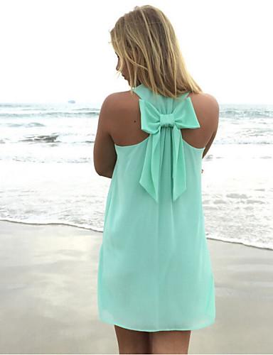 Női, Sifon Pánt nélküli Strandruha Fürdőruha Egyszínű Fehér Narancssárga Kék