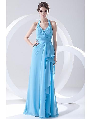 Mantel / Säule Halfter Boden Länge Chiffon Prom formale Abendkleid mit seitlichen drapieren