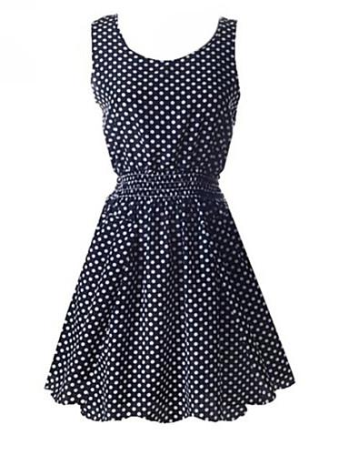 Damskie Vintage Linia A Sukienka - Groszki, Plisy Przed kolano