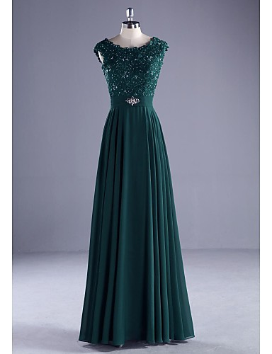 A-Line Princess Scoop Neck Floor Length Chiffon Beaded Lace Formal Evening Dress with Beading Appliques Lace by LAN TING Express