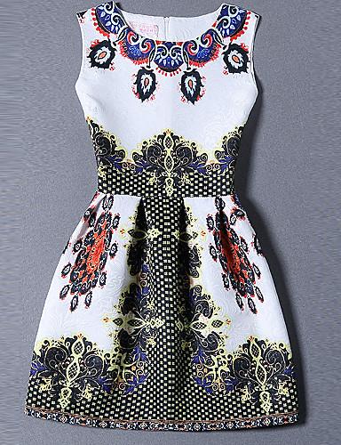 Damen A-Linie Kleid-Ausgehen Übergröße Niedlich Druck Rundhalsausschnitt Mini Ärmellos Polyester Sommer Mittlere Hüfthöhe Mikro-elastisch