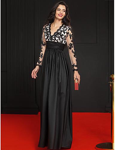 A-Şekilli Prenses V Yaka Yere Kadar Tafta Kwiatowa koronka Aplik Kurdeleler ile Resmi Akşam Elbise tarafından TS Couture®