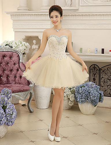 De Baile Decote Princesa Curto / Mini Chiffon Renda Coquetel Vestido com Detalhes em Cristal Renda Faixa de Yaying