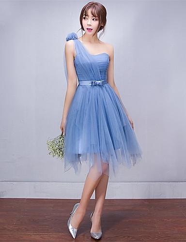 A-Linie Ein-Schulter Kurz / Mini Tüll Brautjungfernkleid mit Seitlich drapiert durch Amgam