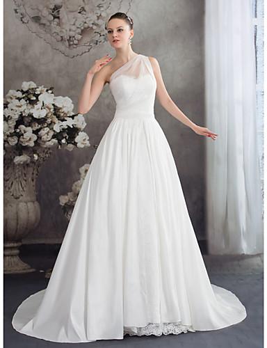A-Linie Ein-Schulter Hof Schleppe Chiffon Hochzeitskleid mit Spitze Rüsche Gerafft durch