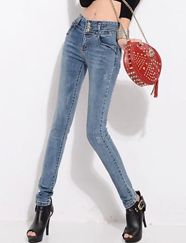 Kvinner Fritid / Gatemote Jeans Bukser Polyester Mikroelastisk