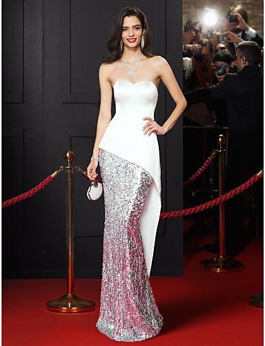 Trompet / Deniz Kızı Kalp Yaka Yere Kadar Saten Payetli Payetler ile Balo Resmi Akşam Elbise tarafından TS Couture®