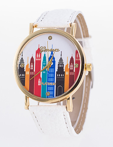 Damen Quartz Armbanduhr Armbanduhren für den Alltag PU Band Freizeit Elegant Modisch Schwarz Weiß Blau Rot Orange Braun Grün Rosa Lila