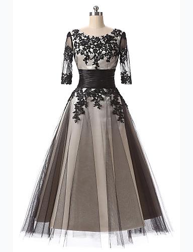 A-Linie U-Ausschnitt Tee-Länge Spitze Cocktailparty Abiball Kleid mit Applikationen Stickerei Spitze durch TS Couture®