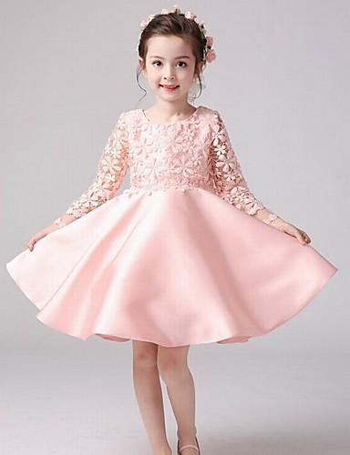 Mädchen Kleid Blumen Acryl Ganzjährig Langarm Gerüscht Rosa
