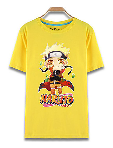 cheap Anime Costumes-Inspired by Naruto Naruto Uzumaki Anime Cosplay Costumes Cosplay T-shirt Print Short Sleeve Top For Men's