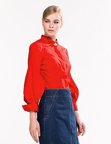 Goelia® Damen Peter Pan-Kragen Lange Ärmel Shirt & Bluse Rot-162F3E090