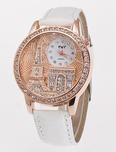 Damen Armbanduhr Quartz Weiß / Blau / Rot Imitation Diamant Analog damas Eiffelturm Simulierte Diamant-Uhr Modisch Kleideruhr - Grün Blau Rosa Ein Jahr Batterielebensdauer / Jinli 377
