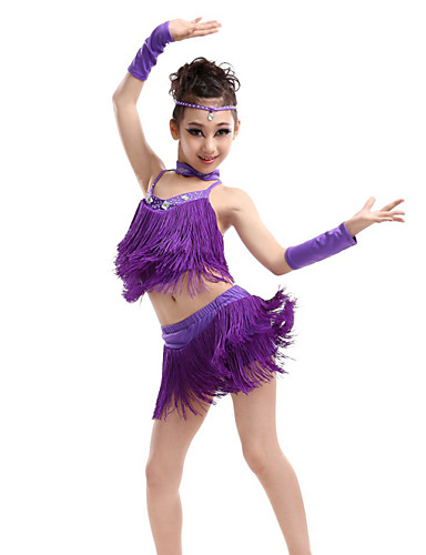 299c08739 Latin Dance Outfits Performance Polyester / Spandex Tassel / Crystals / Rhinestones  Sleeveless High Top / Skirt / Gloves
