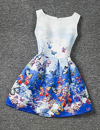 שמלה פוליאסטר קיץ ללא שרוולים הילדה של פרחוני כחול