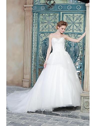 שמלת כלה חתונה פשוט הנשגב הנשגב / רכבת מברשת סטרפלס סאטן אורגנזה עם appliques חרוזים