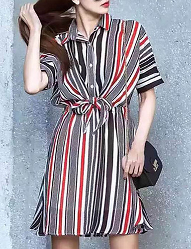 glitter kvinner går ut enkel løs kjole, stripete skjorte krage ovenfor kneet kortermet svart polyester sommer