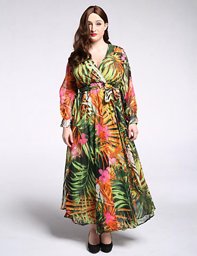 voordelige Grote maten jurken-Dames Grote maten Boho Lantern Sleeve Chiffon Wijd uitlopend Jurk Print Diepe V-hals Maxi / Bloemen
