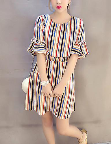 Lose Kleid-Ausgehen / Übergröße Einfach Gestreift Rundhalsausschnitt Übers Knie ½ Länge Ärmel Blau / Rot Baumwolle Sommer Hohe Hüfthöhe