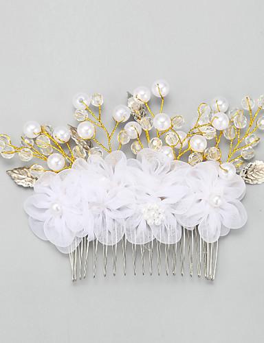abordables Demoiselles d'Honneur-Femme Jeune bouquetière Alliage Imitation de perle Mousseline Casque-Mariage Occasion spéciale Peigne 1 Pièce