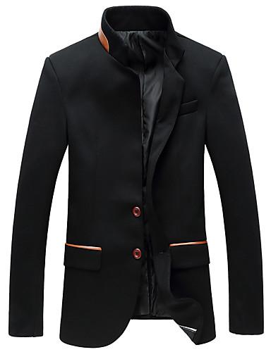 Herren Solide Lässig/Alltäglich Arbeit Blazer Langarm Standard Polyester