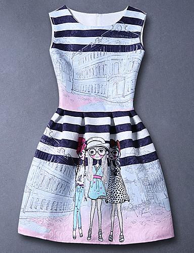 Vestido Chica de-Casual/Diario-Estampado-Algodón-Verano-Blanco