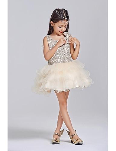 De Baile Curto / Mini Vestido para Meninas das Flores - Poliéster / Tule Sem Manga Scoop pescoço com Laço(s) de LAN TING BRIDE®