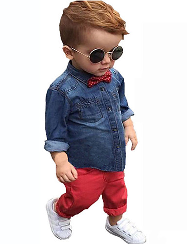 סט של בגדים כותנה אביב סתיו שרוול ארוך יום יומי\קז'ואל קולור בלוק בנים לבוש מהודר כחול