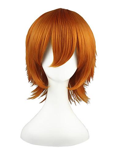 voordelige Cosplay & Kostuums-Shirobako Roxas Heren Dames 14 inch(es) Hittebestendige vezel Oranje Anime Cosplaypruiken