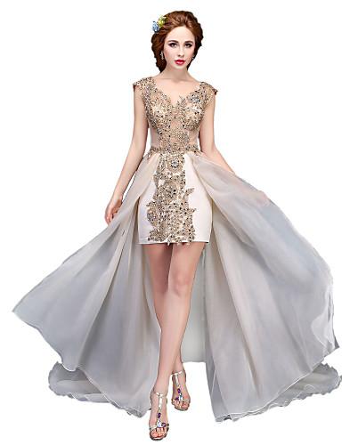 נשף צווארון V א-סימטרי תחרה אורגנזה ערב רישמי שמלה עם חרוזים על ידי SG