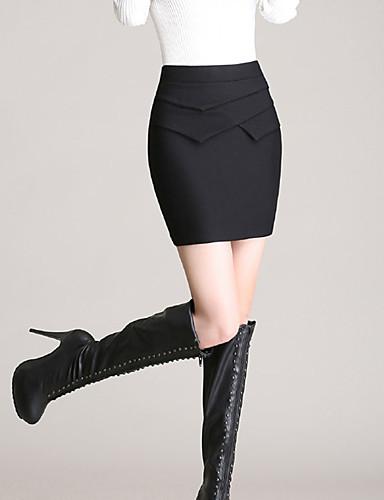 Femme Grandes Tailles Jupes,Moulante Couleur PleineTaille Haute Sexy Mini Travail Polyester Elasticité Micro-élastique Eté