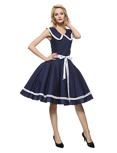 Women's Vintage Cotton Loose Sheath Skater Dress - Solid Colored Blue, Bow Pleated Low Rise Crew Neck Peter Pan Collar