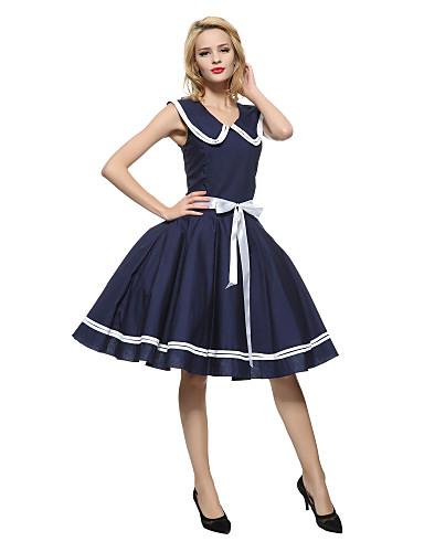 저렴한 여성 드레스-여성용 파티 빈티지 면 루즈핏 칼집 스케이터 드레스 - 솔리드, 리본 주름장식 무릎길이 크루넥 피터팬 카라 블루