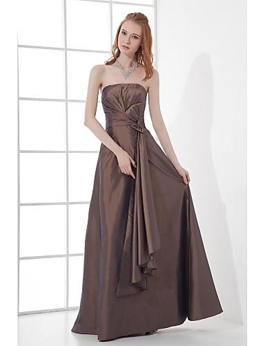 Linha A Sem Alças Longo Tafetá Evento Formal Vestido com Laço(s) Pregas de TS Couture®