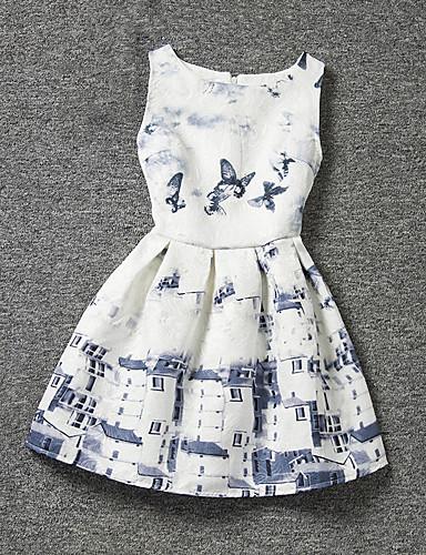 שמלה פוליאסטר קיץ לבן הילדה של