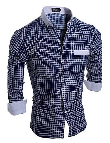e19ca2440 Homens Camisa Social Xadrez Algodão Colarinho Clássico Delgado Branco L / Manga  Longa