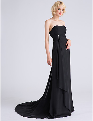 A-Line Strapless Sweep / Brush Train Chiffon Bridesmaid Dress with Beading Cascading Ruffles Side Draping by LAN TING BRIDE®