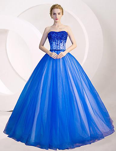 De Baile / Princesa Sem Alças Longo Tule Inspiração Vintage Evento Formal Vestido com Lantejoulas / Detalhes em Cristal de