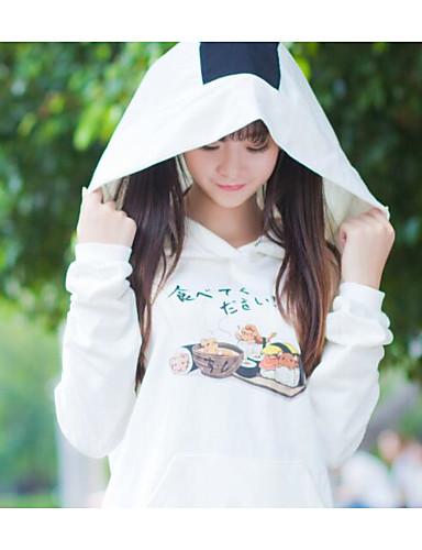 Feminino Moletom Casual Fofo Moda de Rua Estampado Decote V Algodão Micro-Elástica Manga Longa Outono