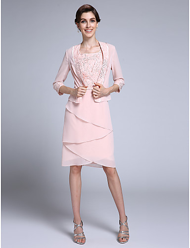 48bfda15b50 Sheath   Column Square Neck Knee Length Chiffon Mother of the Bride Dress  with Beading by LAN TING BRIDE®