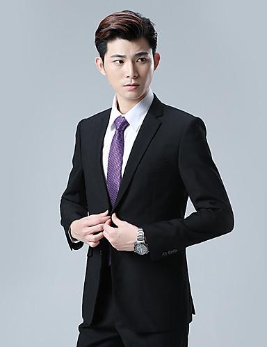 שחור אחיד גזרה מחוייטת כותנה תערובת כותנה חליפה - פתוח Single Breasted One-button