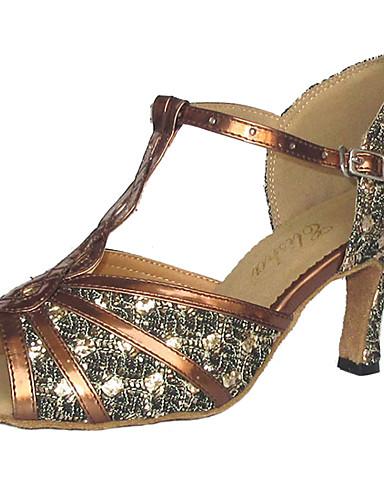 83162532694a Γυναικεία Παπούτσια χορού λάτιν / Παπούτσια σάλσα Λαμπυρίζον Γκλίτερ /  Δερματίνη Πέδιλα Προσαρμοσμένο τακούνι Εξατομικευμένο Παπούτσια Χορού Μαύρο  / Κόκκινο ...