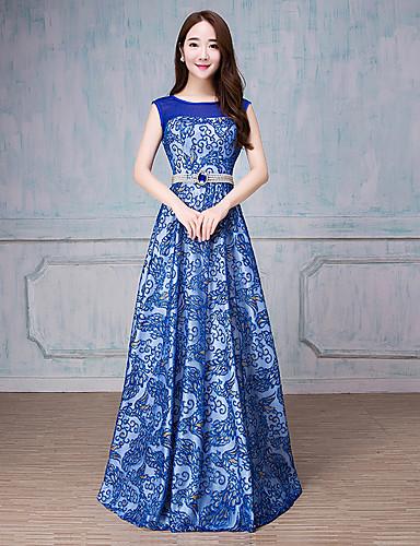 A-line Schaufel Nacken Boden Länge Tüll formale Abendkleid mit Perle Detaillierung