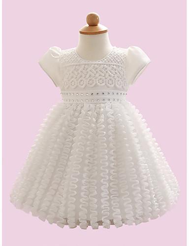 赤ちゃん 女の子の 日常 ソリッド ポリエステル ドレス 夏 半袖 ホワイト
