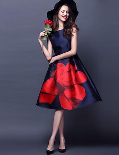 Women's Plus Size Vintage A Line Dress - Floral, Floral High Rise Boat Neck