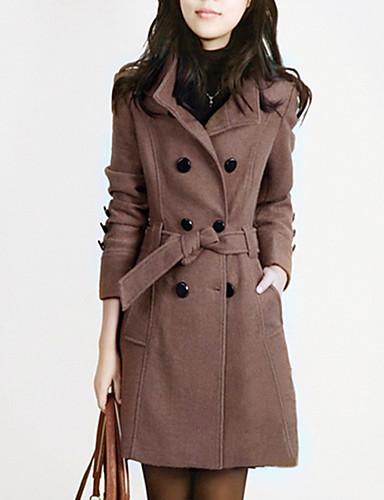 Mulheres Casaco Fashion - Sólido Colarinho de Camisa Estilo Moderno / Primavera / Outono / Inverno