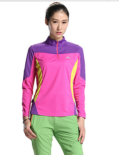 cheap Outdoor Clothing-SPAKCT Women's Hiking Tee shirt Long Sleeve Outdoor UV Resistant Breathable Quick Dry Stretchy Top Clothing Suit Spring Summer Tactel Terylene Standing Collar Light Red Green Blue Camping / Hiking